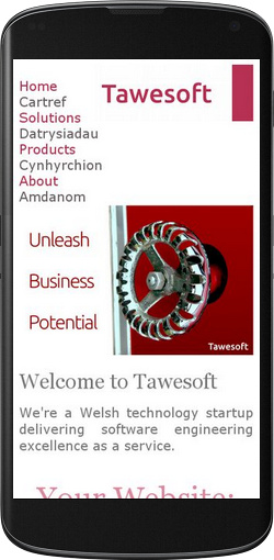 Tawesoft website displayed on a phone