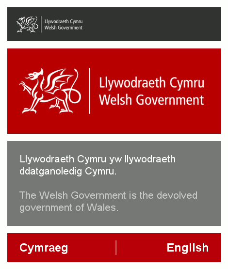 Screenshot of the Welsh Government website
