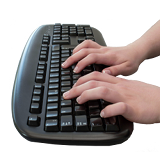 Typing at a keyboard to search online
